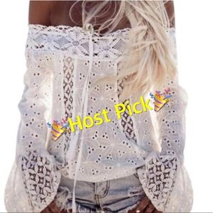 White Beautiful Off Shoulder Long Sleeve Blouse